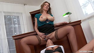 Titty licking and pussy eating office girls piss on each other