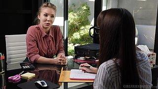 Lena Paul and Lexi Luna having lesbian fucking at the office