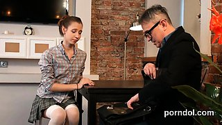 Sultry college girl was teased and drilled by her older teac