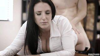 Boss fucks engaged secretary Angela White in deep throat and wet pussy