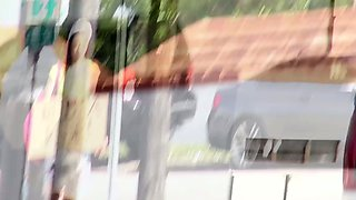 Amateur hitchhiking teen fucked on the car