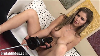 Busty Babe with a brutal dildo fucking machine in HD