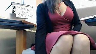 Public upskirt webcam show with busty brunette