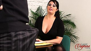 Naked boss strokes his penis while busty secretary Kylie K watches