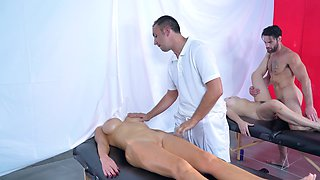 Two bitches get naked and then they fuck at a spa with two guys