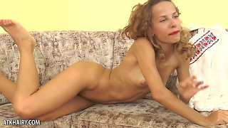 Manita Shows Off Her Hairy Pussy