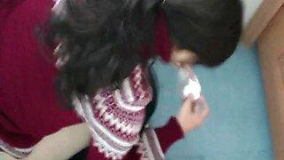 Kneeling toilet pissing asian girl voyeur video