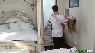 Gorgeous mommy fucks her stepson and his girlfriend Dolly Leigh