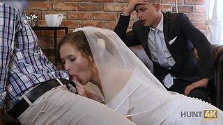 Pretty bride makes her groom cuckold on their wedding night