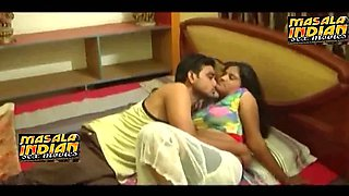 Desi masala bgrade young lady hot boobs pressing romance on bed with boyfriend