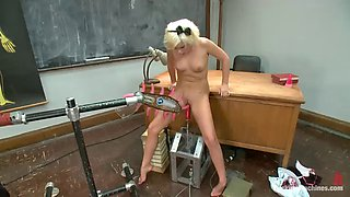 blonde babe kelly surfer gets her pierced pussy stimulated by machines