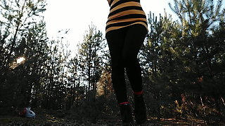 IN THE FOREST. GOLDEN RAIN FROM YOUNG HAIRY PUSSY