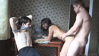 Skinny brunette goes on a wild revenge fuck in front of her bound and gagged BF