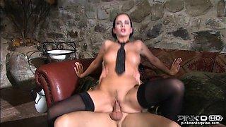 Hot brunnete in stockings rides her boyfriend