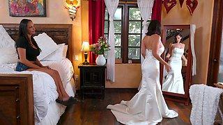 Seductive bride Sofi Ryan is making love with bridesmaid