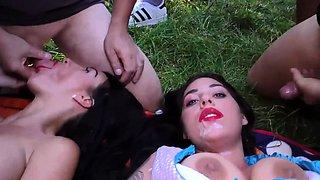 public lederhosen orgy with busty sisters