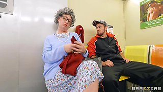 BRAZZERS Granny at Waiting Room Spectates Public XXX