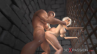 Hot sex! Cute virgin gets fucked hard by a big monster