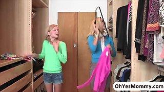 Damn sexy teen Dakota Skye totally seduced by stepmom Cherie Deville into a threesome