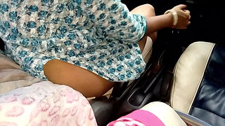 sister riding car gear shift on the highway