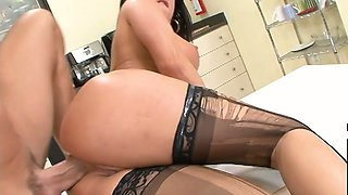 Office slut in ripped stockings Tory Lane hooks up with one of co-workers