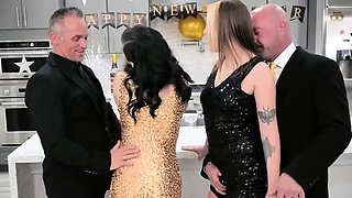 Intimate new years eve celebration with sexy stepdaughters