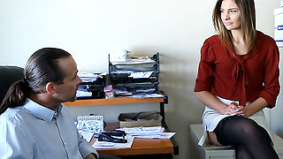 Smoking hot secretary blows her boss
