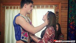 girl gives brutal guy sloppy blowjob after cunnilingus in kitchen