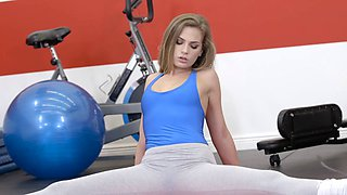 Gorgeous blonde spreads her legs after a workout for a hunk