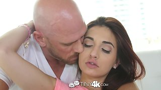 Johnny Sins bangs petite brunette Michelle Taylor in wet pussy and deep throat
