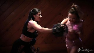 The best boxing workout with two hot and voluptuous babes Dillion Harper & Romi Rain