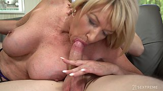 An older woman fucks her friend's stepson and swallows his fresh seed